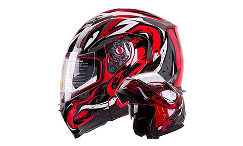 IV2 Red VIPER Flip-Up Motorcycle Adventure Helmet
