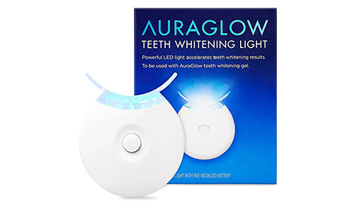 AuraGlow Teeth Whitening Accelerator Light, 5x More Powerful Blue LED Light, Whiten Teeth Faste