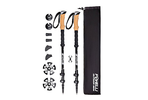 Foxelli Trekking Poles for All Terrain Hiking, 4 Seasons Use