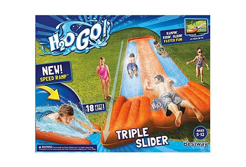 Triple pool kids water slide