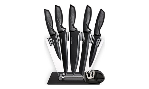 Kitchen Knives Knife Set with Stand - Plus Professional Knife Sharpener - 7 Piece Stainless Steel Cutlery Knives Set by HomeHero