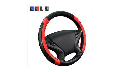 CAR PASS Universal Line Rider Red and Black Leather Steering Wheel Cover