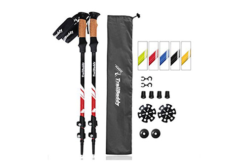 TrailBuddy presents Pack of 2 Trekking/ Hiking Poles with Quick Adjustable FilpLocks