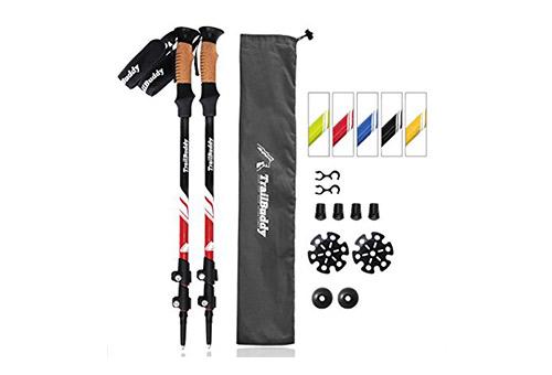 TrailBuddy presents Pack of 2 Trekking/ Hiking Poles with Quick Adjustable FilpLocks