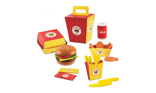 The D.O.T Wooden Fast Food Burger Fries Deluxe Dinner Set