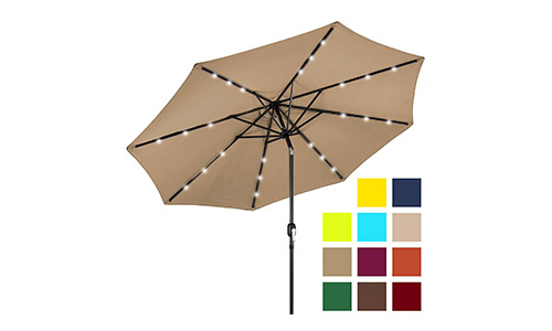 Best Choice Products 10ft Solar LED Lighted Patio Umbrella w/Tilt Adjustment