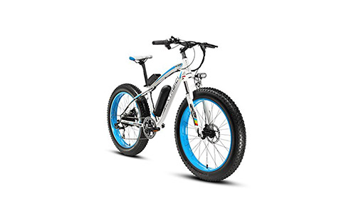 Crusher Fat Tire Bike Snow Bike Mountain Bike with Motor 500W 48V Lithium Battery Extrbici XF660 Shimano 7 Speeds System 4.0 inch Fat Tire Suspension Fork Dual Disc Brakes