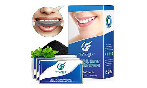 Charcoal Teeth Whitening Strips, Tansmile White Whitestrips Dental Teeth Whitening Strips Kit Elastic Gel Charcoal Teeth Whitener Strips (14 Treatments)