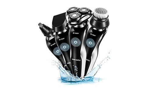 Miracu 4 In 1 Professional Electric Shaver Men's Razor Waterproof Beard & Mustache Groomer Nose & Ear Hair Trimmer Shaving & Grooming Set