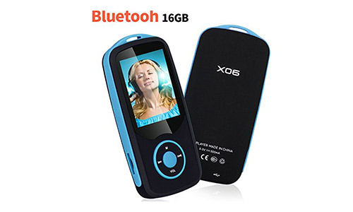 Niusute Mp3 Player with Bluetooth 16GB Music Player Support up to 64GB-Blue by Niusute