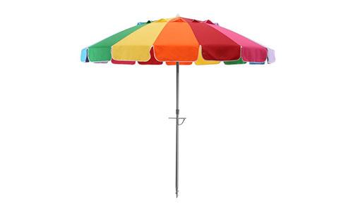 SHADEUSA PRESENTS BAYSIDE 21 RAINBOW UPF50+ TILT BEACH UMBRELLA: