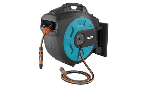Gardena retractable hose reel with a convenient hose guide