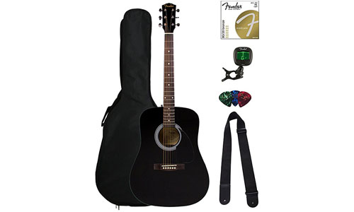 Fender FA-100 Dreadnought Acoustic Guitar – Black W/ Gig Bad