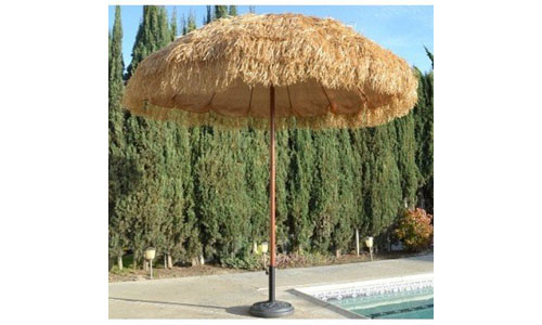 RAFFIA HAWAIIN BEACH UMBRELLA WITH TIKI DESIGN: