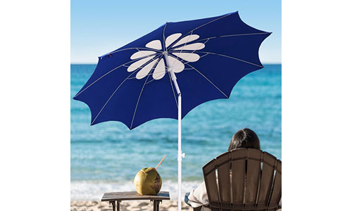 AMMSUM'S PRESENTS POLYESTER FABRIC FLOWER DESIGN BEACH UMBRELLA: