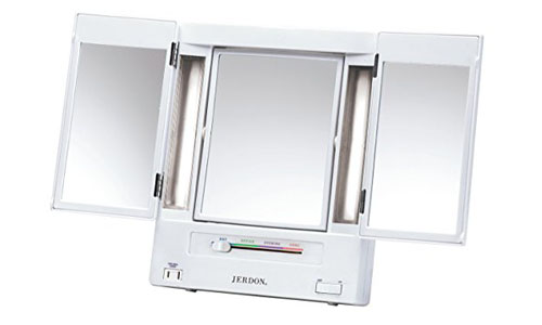 Jerdon tri-fold two- sided lighted makeup mirror with five times magnification