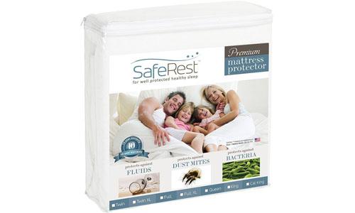 SafeRest presents QUEEN Size Premium Quality Vinyl Free Waterproof Hypoallergenic Mattress Protector