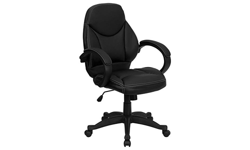 Flash Furniture Swivel Chair with Black Leather