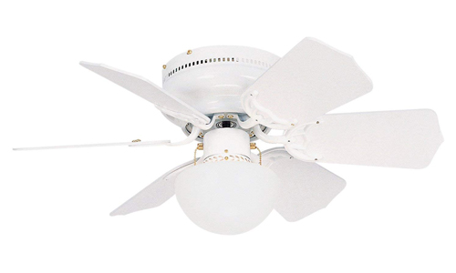 LITEX presents 30-inch Vortex Ceiling Fan with Opal Mushroom Glass Light Kit and Six Reversible White Blades BRC30WW6L
