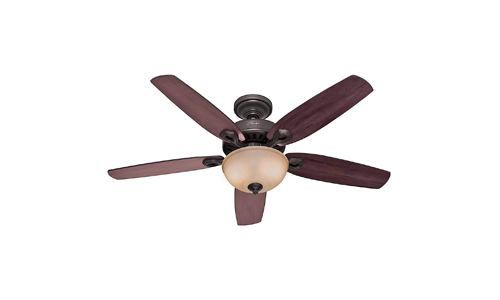 Hunter Fan Company presents Builder Deluxe Single Light Ceiling Fan 5-Blade with Piped Toffee Glass Light Bowl Brazilian Cherry/ Stained Oak Blades and, New Bronze 53091