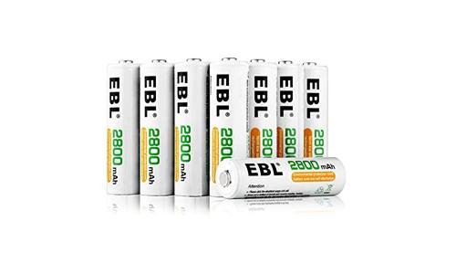EBL sixteen pack AA 2800mAh rechargeable batteries with battery storage case.