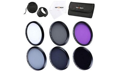 K&F Concept: 72mm 6pcs FLD CPL UV ND2 ND4 ND8Lens Accessory Filter Kit UV Protector Circular Polarizing Filter for Canon 7D 60D 70D 500D for Nikon D7000 D600 D300 D800 D7100 for Sony A77 NEX 5 DSLR Cameras + Microfiber Lens Cleaning Cloth + Petal Lens Hood + Center Pinch Lens Cap + Filter Bag Pouch.