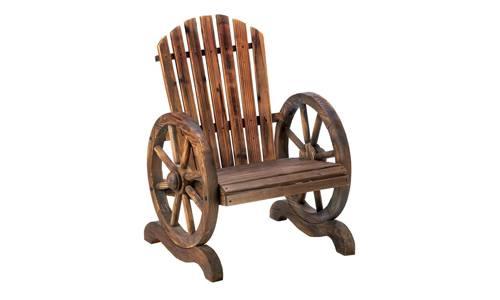 Home Locomotion presents Adirondack Style Wagon Wheel Wood Garden Chair