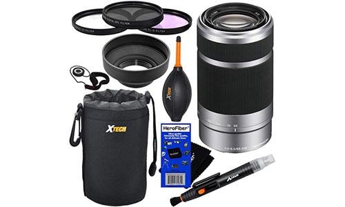 HeroFiber: Sony E 55-210mm f/4.5-6.3 OSS E-Mount Telephoto Zoom Lens - Silver - International Version (No Warranty) for a3000, a5000, a6000, Alpha NEX-3, NEX-3N, NEX-5N, NEX-5R, NEX-5T, NEX-6, NEX-7 & NEX-F3 Digital Cameras, NEX-VG30, NEX-VG30H & NEX-VG900 Interchangeable Lens Camcorders + 10pc Bundle Deluxe Accessory Kit w/ HeroFiber Ultra Gentle Cleaning Cloth