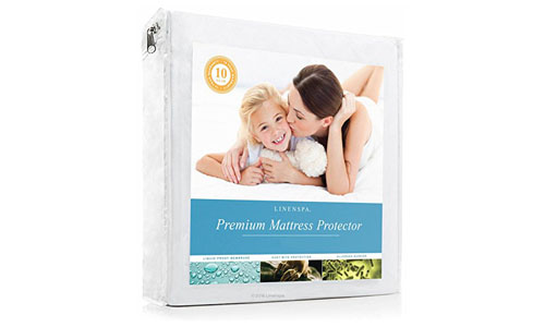 LINENSPA presents Hypoallergenic Fully Waterproof Smooth Mattress Protector – TWIN