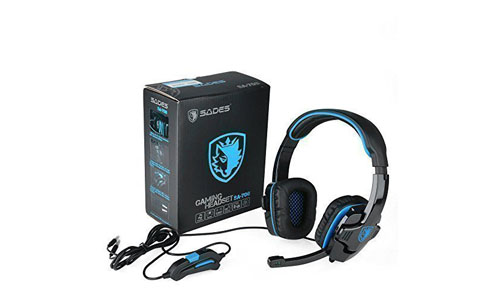 Gaming Headset Sades Sa708 Stereo Blue Gaming Headphone with Microphone for Pc Computer