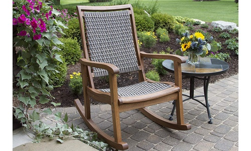 Outdoor Interiors presents Eucalyptus Rocking Chair with Resin Wicker, Brown and Grey