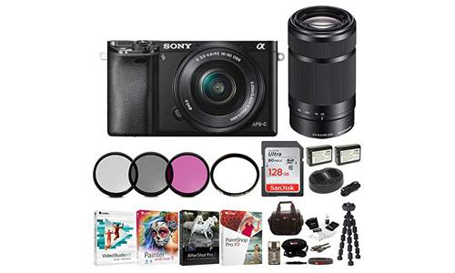 Sony: Sony Alpha a6000 Mirrorless Camera w/16-50mm & 55-210mm Lenses & 128GB Bundle (Black)