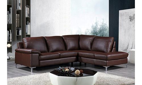 Cortesi Home Genuine Leather Sectional Sofa