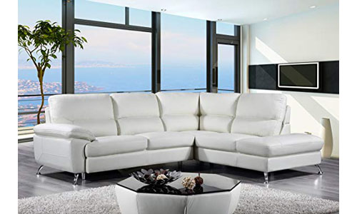 Cortesi Home Contemporary Leather Sectional Sofa