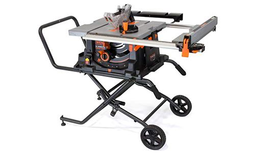 WEN 3720 15A Jobsite Table Saw with Rolling Stand, 10.