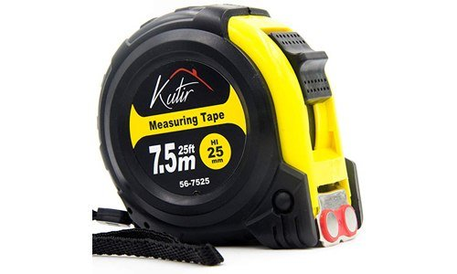 Kutir presents 25 Foot Heavy Duty Tape Measure with Shock Absorbent Rubber Case