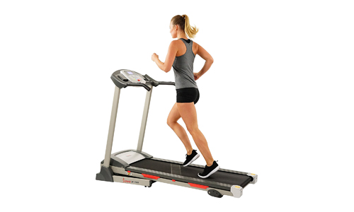 Sunny Health & Fitness presents Electric Treadmill with 3 Manual Incline Positions, 9 Programs, and Soft Drop System SF-T7603