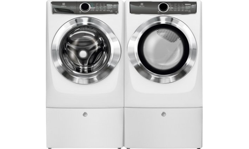 Electrolux presents Perfect Stream 4.4 Cu. Ft. EFLS617SIW Washer and Front Load Electric Dryer EFME617SIW Luxury-Glide Pedestal, in Island White