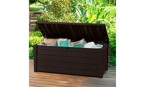 Pool deck storage box and bench