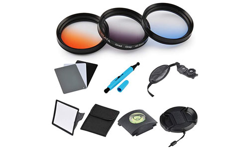 ULATA: 40.5mm Orange Blue Gray Color Gradeated Filter Kit Circle Lens Filter For DSLR Camera For Samsung NX100 NX200 NX210 NX300 Sony A6000 A5100 A5000.