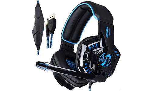 NOSWER I8S Stereo Wired PC Gaming Headset Over Ear LED Light 3.5mm Headphones with Microphone for Mac PS4 MP3 MP4 Laptop Computer EMMETTS