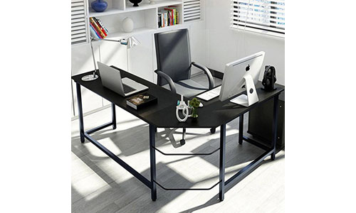 Tribe signs Modern L-Shaped Desk Corner Computer Desk PC Latop Study Table Workstation Home Office Wood & Metal, Black, 10 Best Home Office Desks in 2021 Reviews