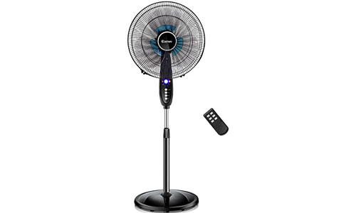 Hostway adjustable pedestal fan with remote control timer.