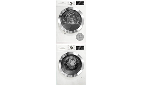 Bosch presents White Front Load Washer WAT28402UC and Condensation Dryer WTG86402UC with Stacking Kit WTZ20410