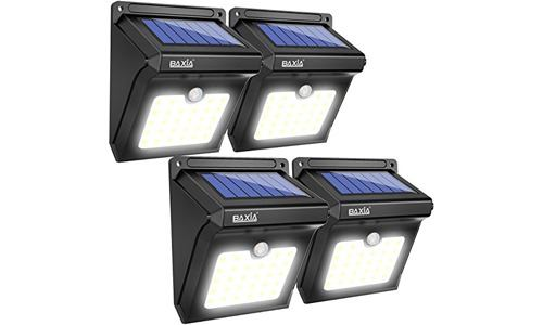 BAXIA TECHNOLOGY presents Pack of 4 Solar Powered Motion Security Lights 28 LED for each Pack