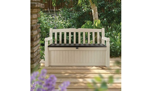 Outdoor Resin all weather plastic seating and a storage bench