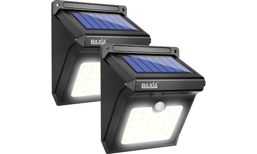 BAXIA TECHNOLOGY presents 28 Solar LED Lights, 400 Lumen with Motion Sensor for Security (Pack of 2)