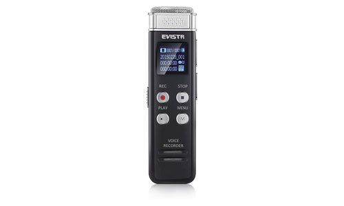 EVISTR: 8GB Digital Audio Sound Recorder Dictaphone, Voice Activated Recorder with MP3 Player,Auto Saving File Every 5 Seconds