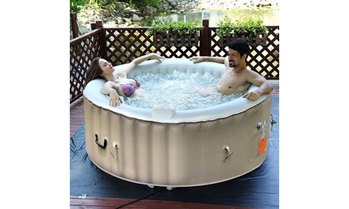 GoPlus presents Inflatable Hot Tub for Jet Bubble Massage, Portable Design