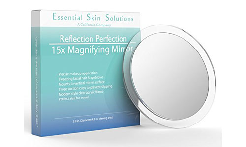 Fifteen times magnifying makeup mirror